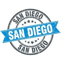 San Diego blue round grunge vintage ribbon stamp vector