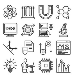 science physics icons set on white background vector image