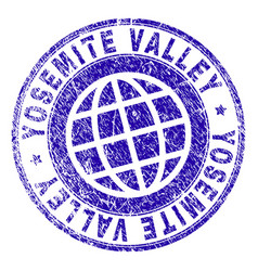Scratched textured yosemite valley stamp seal vector