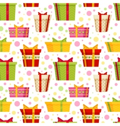 Seamless cartoon pattern with gift boxes vector image
