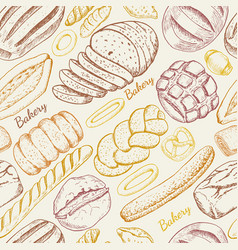 Seamless pattern with a variety of bakery products vector