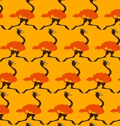 Seamless Pattern With Running Ostrich vector image