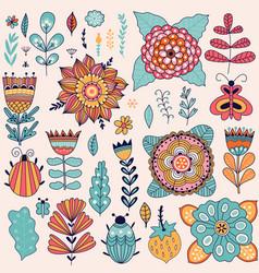 Set of flowers elements design vector
