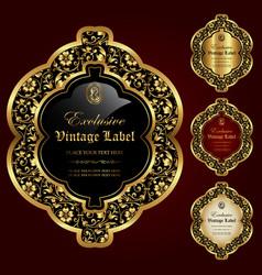 set of luxury ornamental gold-framed labels vector image