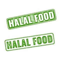 Set of realistic Halal Food rubber stamp vector image