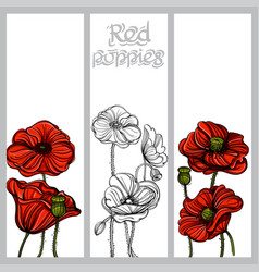 Set of vertical banners with hand drawn red vector