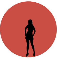 silhouette of woman over red sun vector image