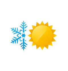 snowflake and sun icon vector image