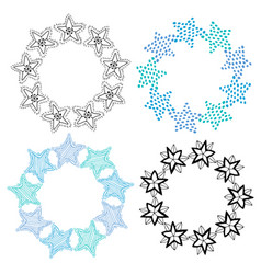 stars frame isolated decoration set sketchy hand vector image