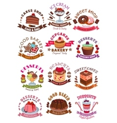 Sweet desserts cakes cupcakes icons vector