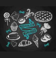 sweets set sketch on chalkboard background vector image