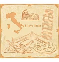 Symbols of Italy vintage card vector
