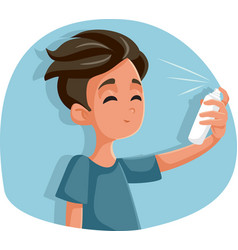 Teen boy using hairspray cartoon vector