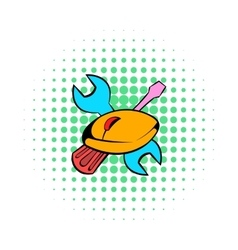 Tools and mouse icon comics style vector