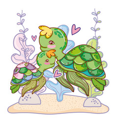 Turtle family animal with seaweed plants vector