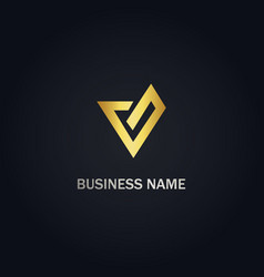 V initial business company logo vector