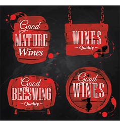 watercolor wine cask chalk vector image