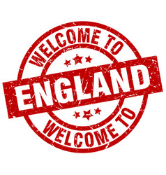 welcome to england red stamp vector image