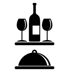 Wine bottle glasses serving tray vector image