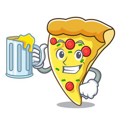 with juice pizza slice mascot cartoon vector image