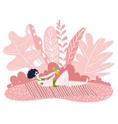 woman in bikini sunbathing in sunset pink summer vector image