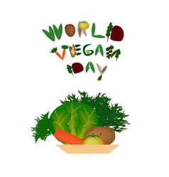 world vegan day inscription fruits and vegetables vector image