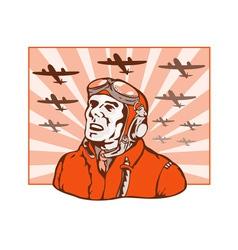 World War Two Pilot Airman Retro vector image
