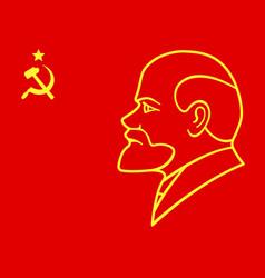 lenin on red flag vector image