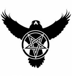 raven crow pentagram star vector image vector image