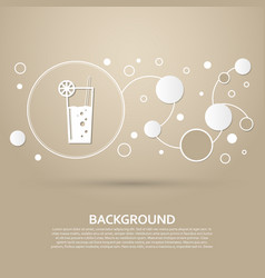 cocktail icon on a brown background with elegant vector image