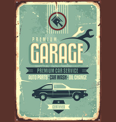 garage vintage tin sign vector image vector image