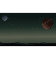 Landscape of outer space desert with planet vector image