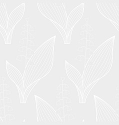 lily of the valley white contour pattern vector image vector image