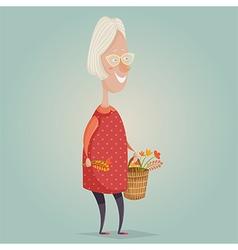 old woman cartoon character vector image vector image
