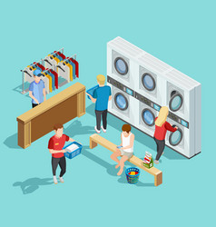 Self service laundry facility isometric poster vector