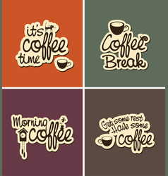 Set of four banners on the theme of coffee vector