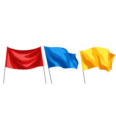 set of multicolored flags on white background vector image