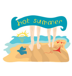 spend the hot summer together vector image vector image