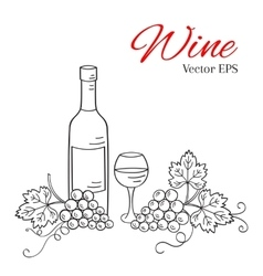 Wine bottle glass and grapes vector