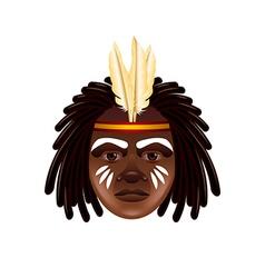 Australian aborigine face isolated on white vector image