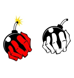 Bomb in people hand vector image