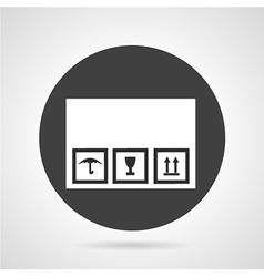Cardboard box black round icon vector image