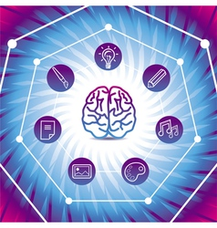 creativiy concept - brain icon on blue back vector image vector image