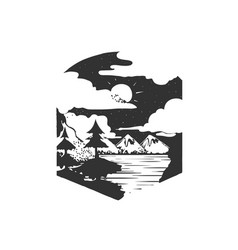 mountains camping forest camp hand drawn t vector image