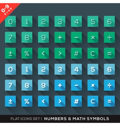 Numbers and Math Symbols Flat Icons Set with long vector image