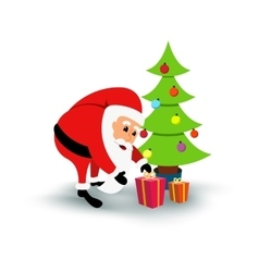 Smiling cartoon Santa Claus with gifts under green vector image vector image