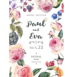 Vintage floral roses wedding invitation vector image vector image