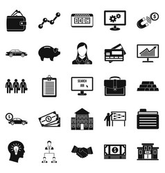 working week icons set simple style vector image vector image