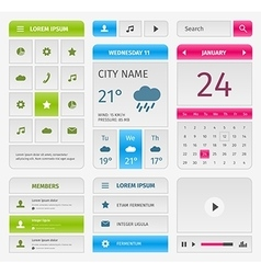 Colorful set of mobile interface elements on gray vector image vector image