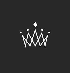 Crown design element monogram abstract logo thin vector image